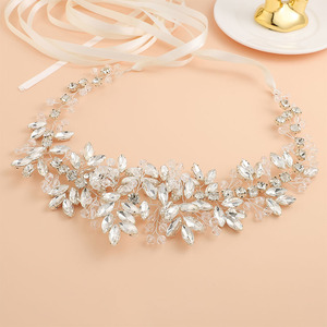 Image 4 - Bridal Satin Belts Crystal Beads Silver Color Wedding Accessories Decoration Prom Dress Belt Ivory White Strass Bride Sash Gifts