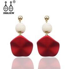 DREJEW Red Green Blue Irregular Statement Dangle Earrings Bending Alloy Drop for Women Fashion Christmas Jewelry HE115