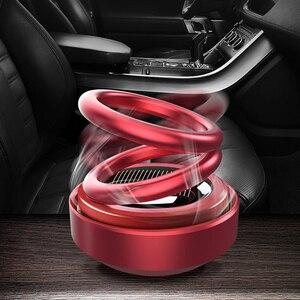 Solar Energy Car Double Loop Rotary Suspension Dashboard Perfume Seat Air Freshener Auto Aromatherapy Diffuser Interior Decor