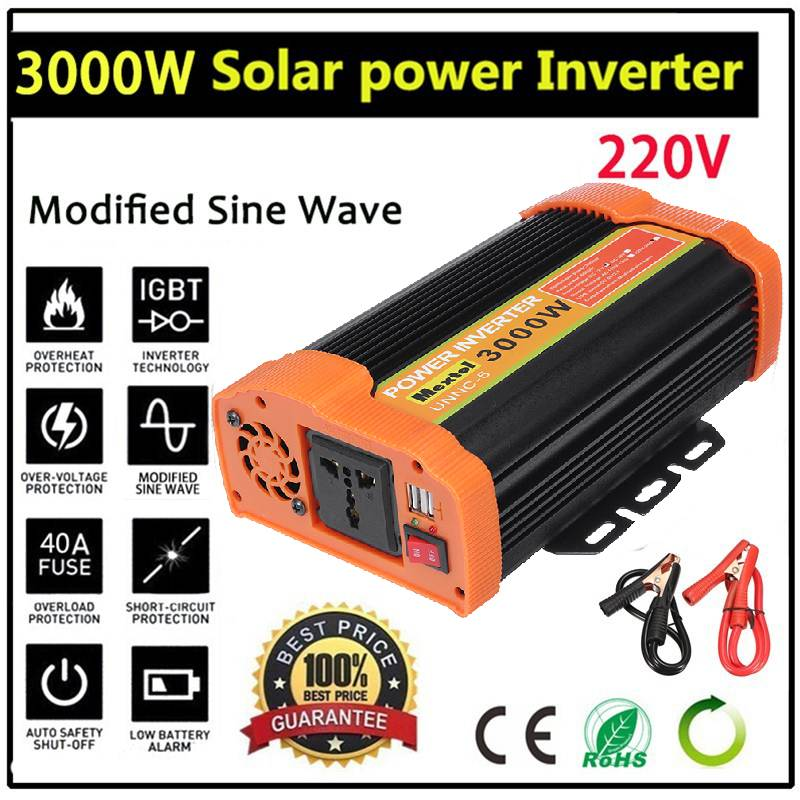 6000W Solar Power Inverter <font><b>12V</b></font> <font><b>to</b></font> <font><b>220V</b></font> 3000W <font><b>Car</b></font> Power Inverter Charger Converter <font><b>Adapter</b></font> Modified Sine Wave Transformer image