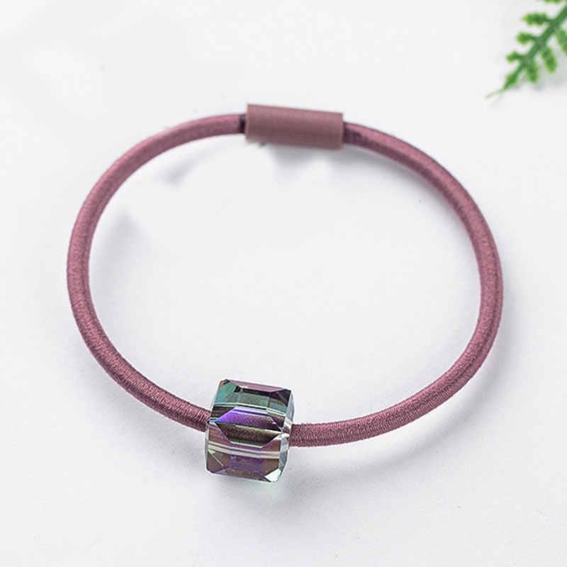 1 uds, nuevas bandas elásticas elegantes de cristal geométrico para el pelo para mujeres, soporte para Coleta, banda de goma para la cabeza, accesorios para el cabello