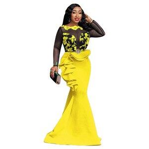 Image 3 - Robes africaines pour femmes dames longue fête robe de sirène Sexy maille transparente volants soirée moulante Maxi robe trompette