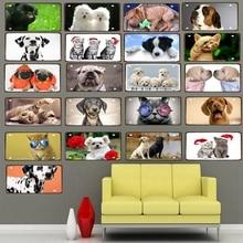30X15CM Cut Cat Dog  License Plate Metal Tin Sign Wall Cafe Pet Shop Restaurant Art Decor Poster DC-0019A