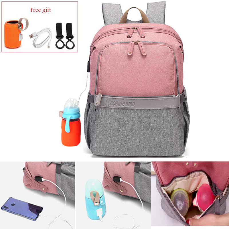 New USB Waterproof Stroller Diaper Backpack For Mom Maternity Nappy Women Travel  Multifunction Baby  Bag Insulation  Nursing