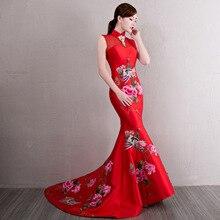 Женское вечернее платье в пол с красной цветочной вышивкой, элегантное сексуальное платье без рукавов Cheongsam
