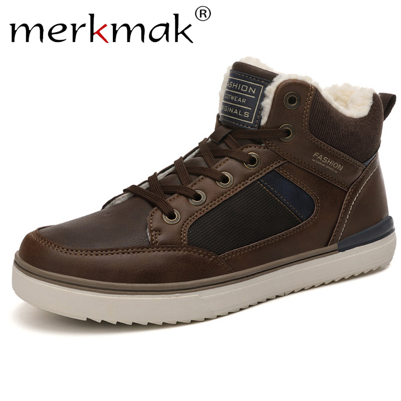 Merkmak Winter Men's Boots Anti-fur Casual Leather Shoe Non-slip Snow Boot Man Plus Velvet Shoe Outdoor Hiking Men Sneakers