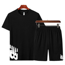 Summer Mens Casual Wear Jogging suit Tracksuit Tracksuits Quick Dry Short Sleeves T shirt+pants 2 Piece Set Mens Sportswear 2021