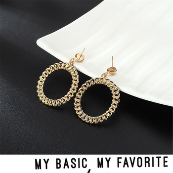 1pair Drop Earrings Matte Gold Big Chain Round Hollow Out Circle Korean Design Long Dangle Earrings For Women image