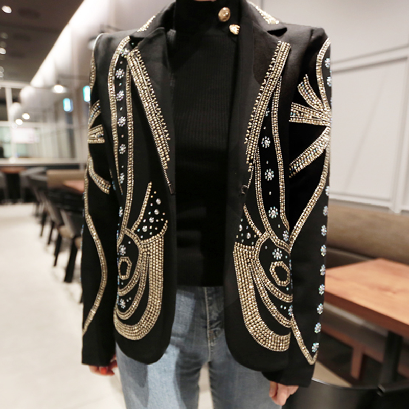 Luxury Beading Elegant Buttons Women Blazers  Long Sleeve 2020 Spring New Female Blazer Jackets Office Ladies Coats LT945S30