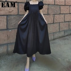 [EAM] Women Black Pattern Big Size Pleated Long Dress New Square Collar Short Sleeve Loose Fit Fashion Spring Summer 2020 JW683
