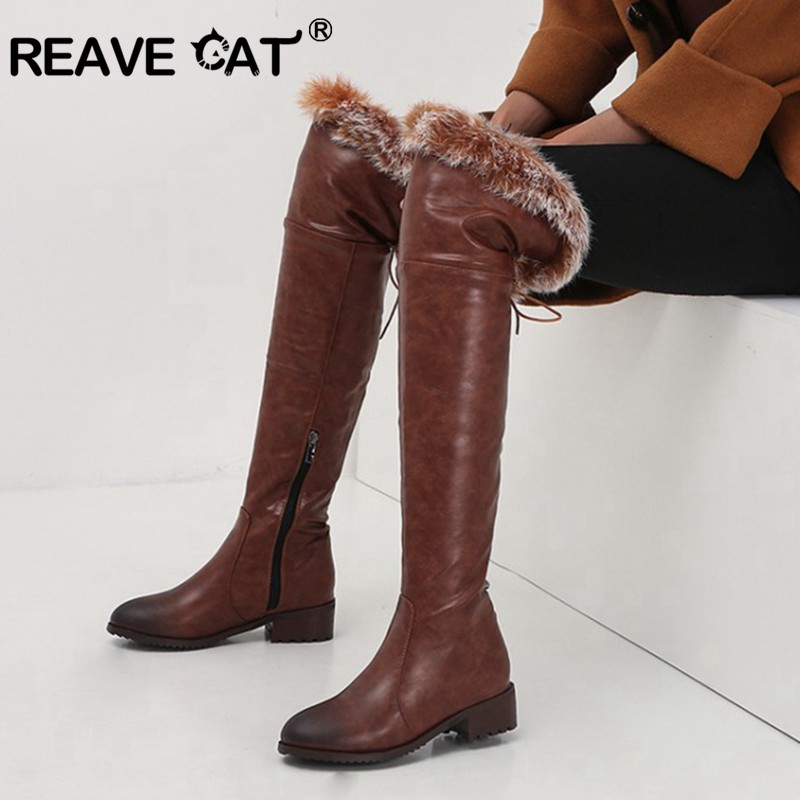 REAVE CAT Snow Boots warm fur Women leather boots med block heels Over The Knee Boots Lady Winter shoes bota feminina size 44 46