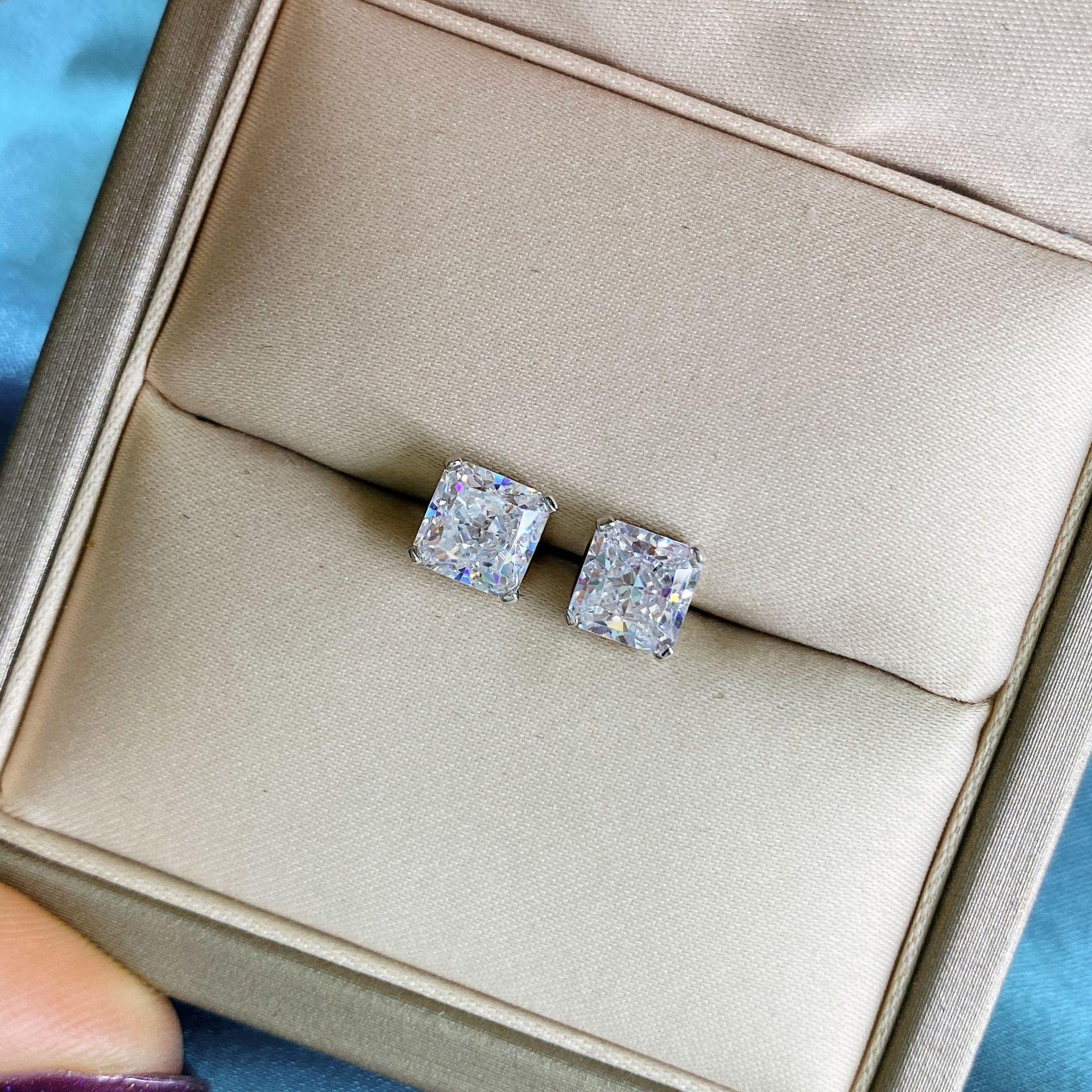 Wong Rain 925 en argent Sterling créé Moissanite diamants pierres précieuses de mariage fiançailles bijoux fins boucles d'oreilles boucles d'oreilles en gros 5