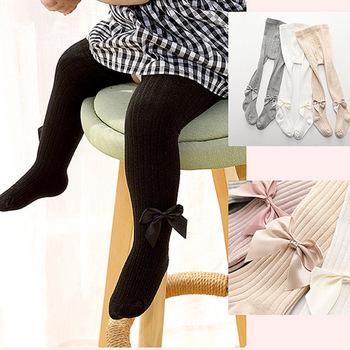 Cotton Tights for Girls Cute Bowknot Pink Pantyhose Children Summer Breathable Baby Girl Kid Black Stockings 0-11 Yrs - discount item  33% OFF Children's Clothing