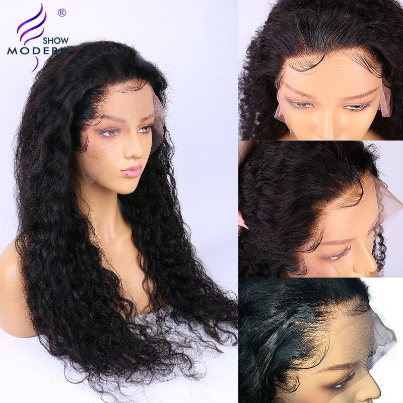 Perruque brésilienne de vague d'eau 13*4 avant de lacet perruques de cheveux humains pré plumé naturel délié 150% Remy cheveux perruques moderne montrer les cheveux - 4