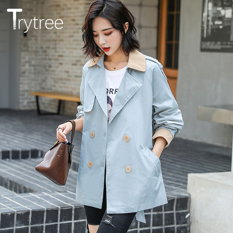 Trytree Autumn Winter Women Casual   Trench   Double Breasted Split Color Turn-down Collar Coat Office Lady Belt Pockets Suit Coat
