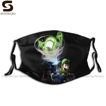 Luigi Mansion Mouth Face Mask Luigi Facial Mask Funny Fashion with 2 Filters for Adult недорого