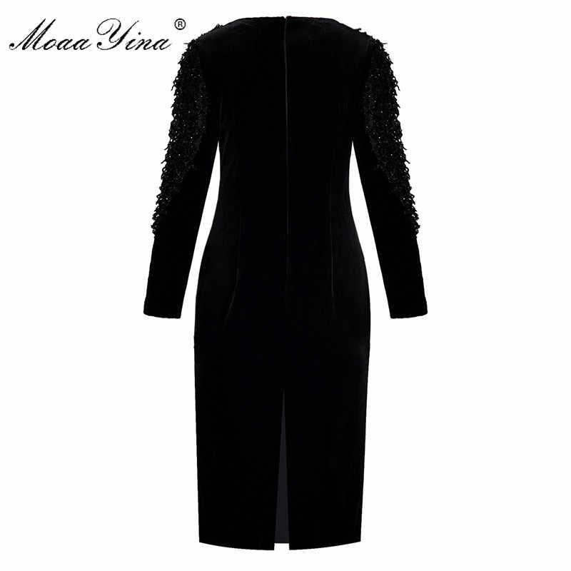 MoaaYina модное дизайнерское подиумное платье Весна Осень женское платье длинный рукав мех пэчворк бархат пакет ягодицы платья
