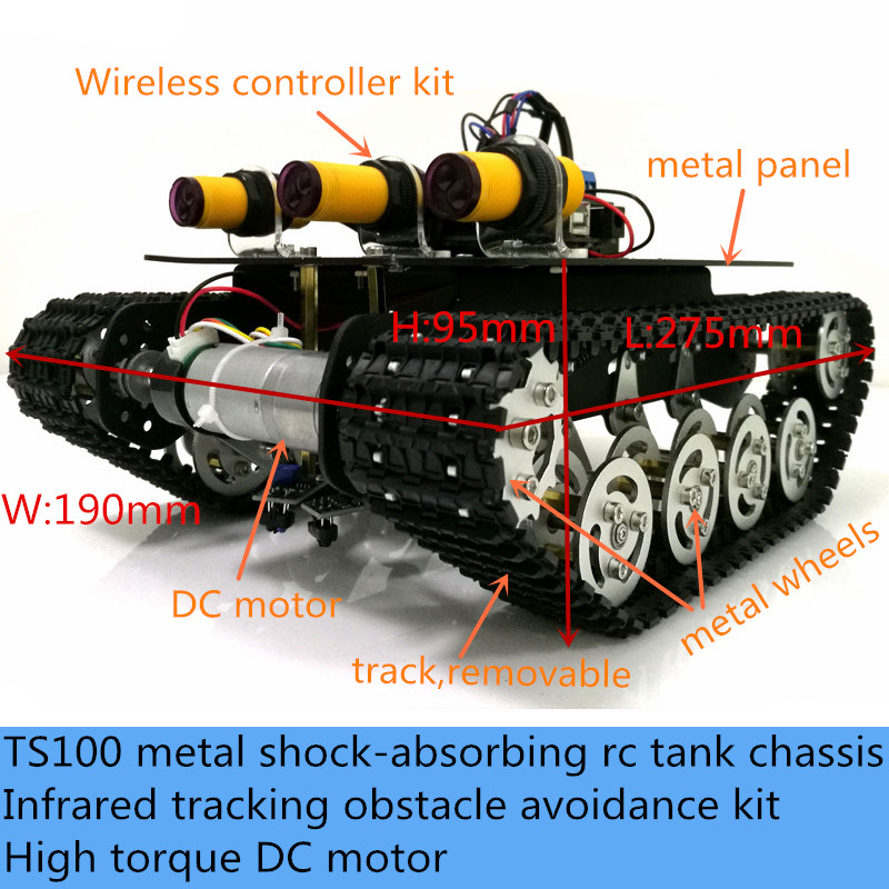 Wireless Control <font><b>TS100</b></font> Metal Shock-Absorbing RC <font><b>Tank</b></font> Chassis Kit Infrared Tracking Obstacle Avoidance Robot DIY For Arduino image