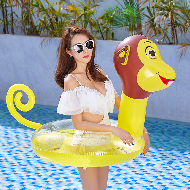 Kids Monkey Swim Ring Inflatable Tube Ring Fun Kids Adults Funny Monkey Shape Swim Tube Summer Beach Outdoor Swimming Pool Toy
