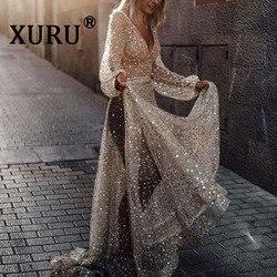 XURU, Новинка лета, женское сексуальное платье с блестками, с длинным рукавом, перспективное, на бретелях, для собора, платье, для ночного клуба...