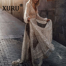 XURU Summer New Products Women's Sexy Sequins Dress Long Sleeve Perspective Halter Cathedral Dress Nightclub Party Dress