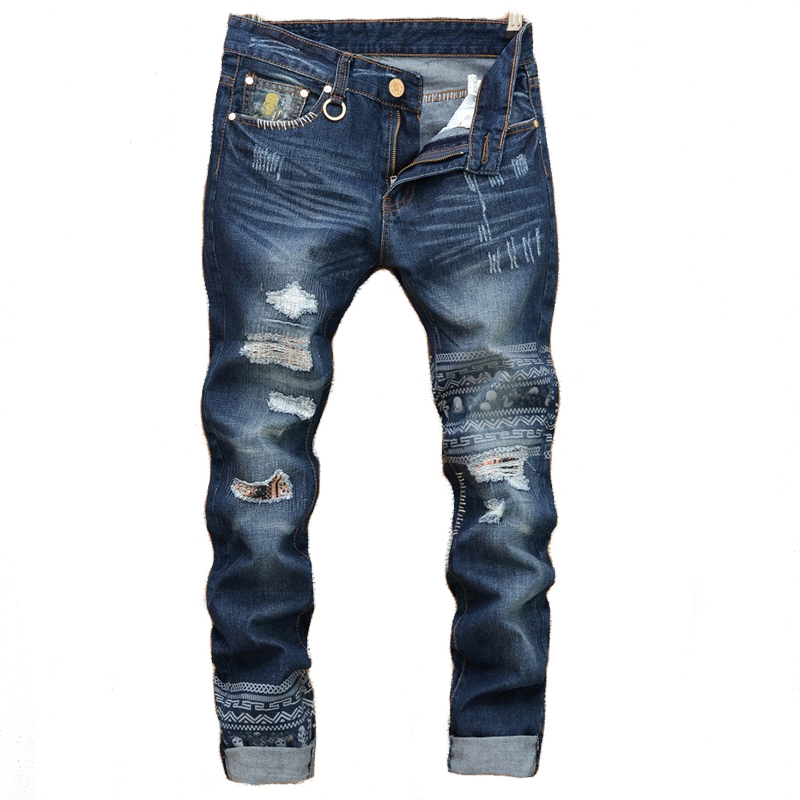2020 Fashion Tearing Denim Mens Ripped Jeans Hip Hop Skull Head Straight Slim Jeans Men Denim Pants Male Trousers Size 28-38