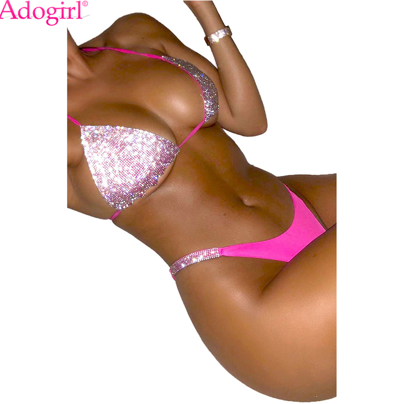 Adogirl Sequin Halter Neck Bikini Set