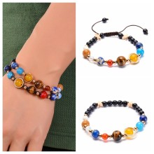 Genuine Colorful Natural Tourmaline Stone Bracelets for Women Yoga Charm Stretch Round Bead Bracelet Wholesale(China)