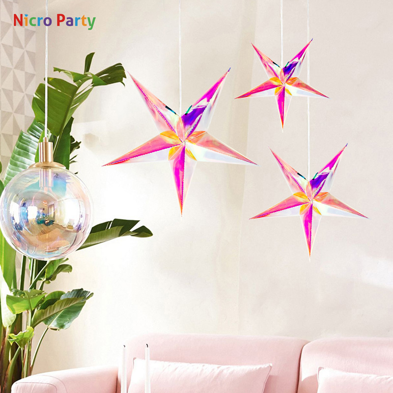 Nicro <font><b>30</b></font> CM Colorful Neon five-pointed Star Beautiful Baby Shower Wedding Birthday <font><b>Party</b></font> <font><b>Decoration</b></font> #Oth219 image