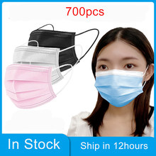 700 pçs máscara descartável máscaras de rosto nonwove 3 camada máscara de boca filtro anti poeira respirável protetora adulto máscaras transporte rápido