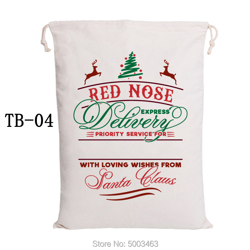 Drawstring Gift Sack Christmas Bag 30pcs/lot Canvas Candy Cane Bags Santa Claus Bags Customized Santa Sacks Party Decoration