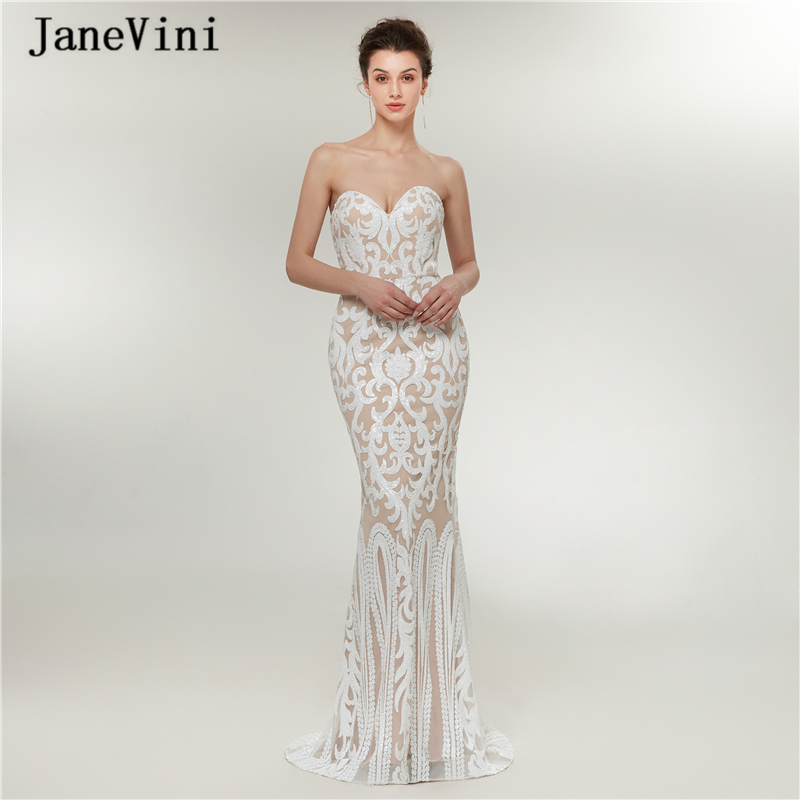 JaneVini Sexy Arabic Mermaid Long Prom Dresses Plus Size 2019 Sweetheart Bling Sequins Sleeveless Floor Length Gala Formal Dress