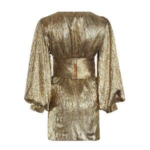 Image 2 - TWOTWINSTYLE Patchworkชุดเลื่อมสำหรับผู้หญิงโคมไฟแขนเสื้อVคอสูงเอวเซ็กซี่Party Dressesหญิงแฟชั่นฤดูใบไม้ร่วง 2020 ใหม่