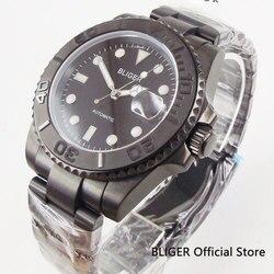 Szafirowe szkło BLIGER 40mm czarna tarcza ceramiczny obrotowy Bezel świecące znaki z powłoką PVD przypadku mechanizm automatyczny zegarek męski w Zegarki mechaniczne od Zegarki na