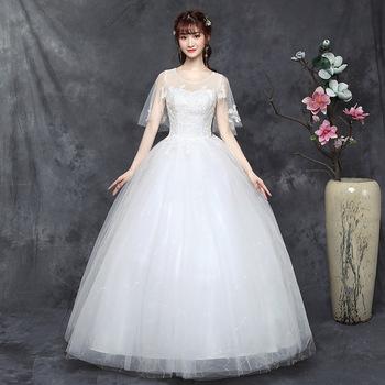 Suknie ślubne w dużych rozmiarach suknia ślubna dla panny młodej luksusowe suknie ślubne suknie balowe sukienki ze sznurowaniami tanie i dobre opinie Lifeglad NONE Matte Satin O-neck Długość podłogi Krótki Lace up Aplikacje Haft Kwiatowy Print LFyc38 Księżniczka