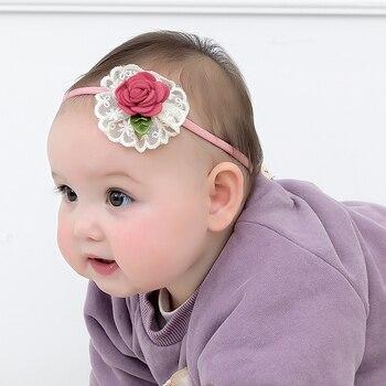6pcs/lot Soft Newborn Toddler Flower Headwraps Cute Elastic Baby Girls Knot Nylon Turban Headband Photo Props Hair Accessories