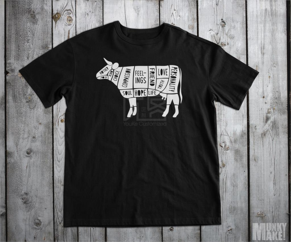 Free Shipping Summer Fashion Happy Cow Vegan T Shirt All Sizes Vegetarian Animal Rights <font><b>Protest</b></font> Summer Men Clothing image