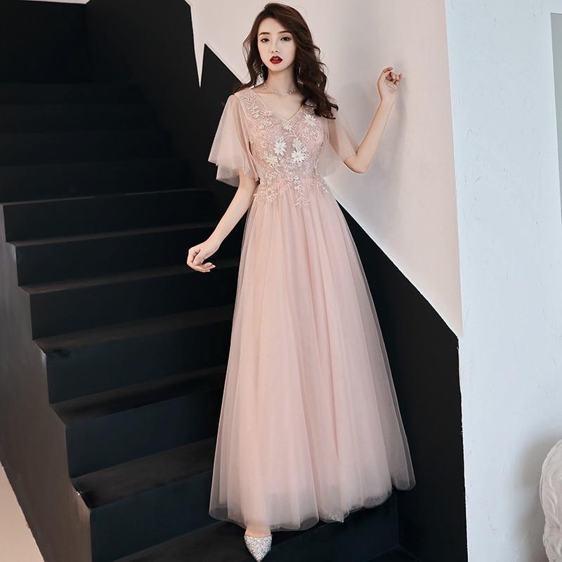 Pink V-neck Evening Dress Embroidery Floral Party Dress Elegant A-line Banquet Dress Temperament Slim Prom Dress Oversize 3XL