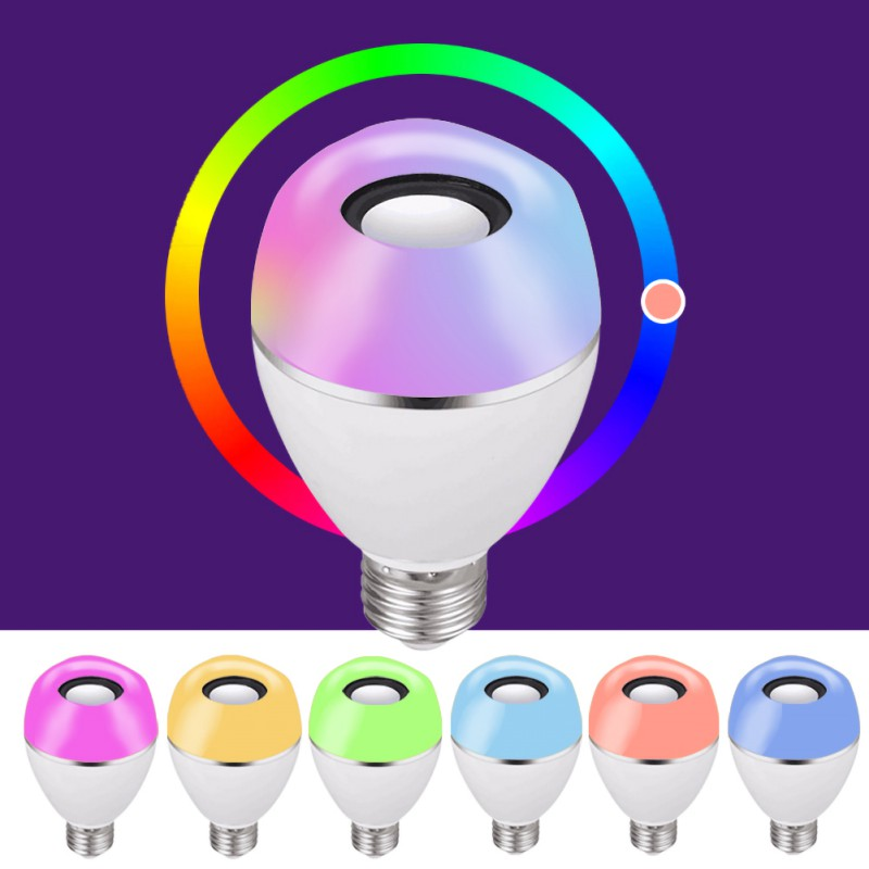 LED Wireless Light Speaker RGB Smart Music Bulb E26 Base Color Changing With Remote Control Decorations - 2