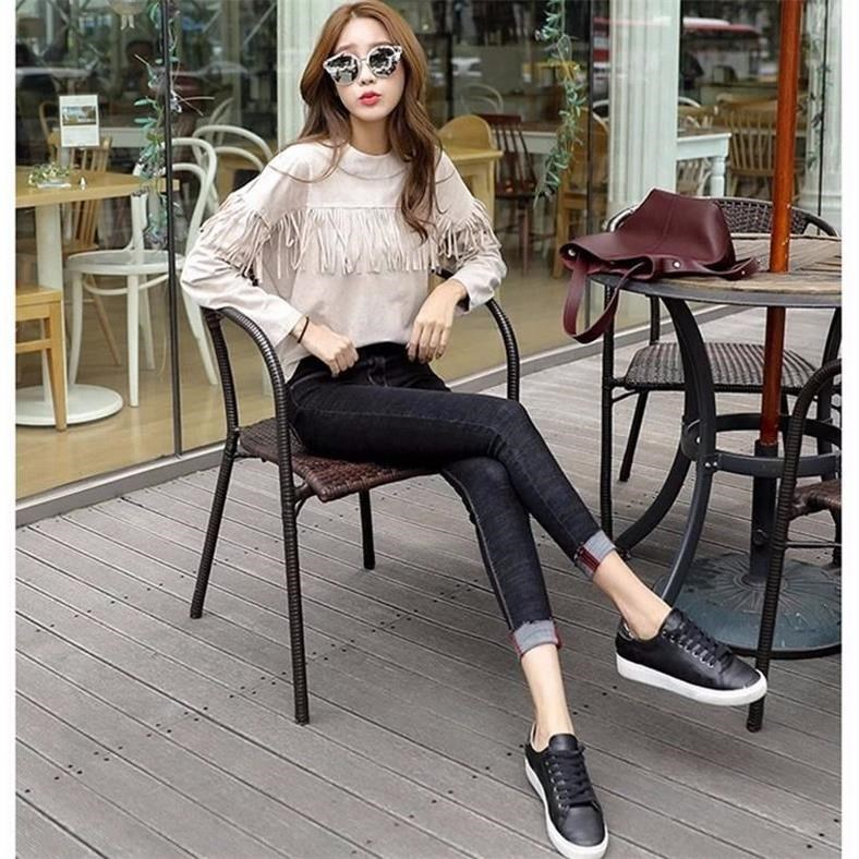 2019 Spring And Autumn High-waisted Elasticity Jeans Female Black Korean-style Capri Pants Large Size Slimming Tight-Fit Skinny