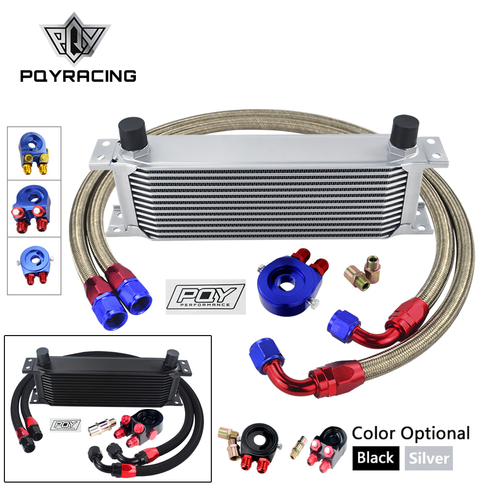 UNIVERSAL 13 ROWS OIL COOLER KIT + OIL FILTER SANDWICH ADAPTER + NYLON STAINLESS STEEL BRAIDED AN10 HOSE W/ PQY STICKER+BOX