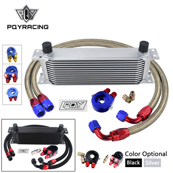 UNIVERSAL 13 ROWS OIL COOLER KIT + OIL FILTER SANDWICH ADAPTER + NYLON STAINLESS STEEL BRAIDED AN10 HOSE W/ PQY STICKER+BOX wlr universal 15 rows trust type oil cooler an10 oil sandwich plate adapter with thermostat 2pcs nylon braided hose line black