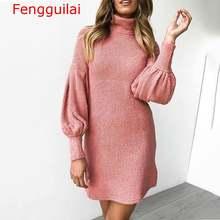 Женское трикотажное платье свитер с длинным рукавом и высоким