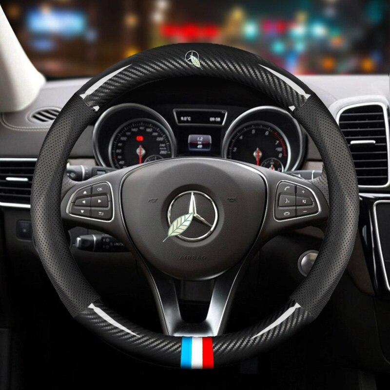 Anti kayma araba karbon Fiber direksiyon kılıfı Mercedes benz AMG 38cm modelleri bir C CLA E GLA GLC GLE S B CLS sınıf aksesuarları