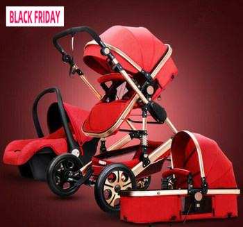 Baby Stroller 3 In 1 Carriage High Landscape Pram Foldable Pushchair & Car Seat image