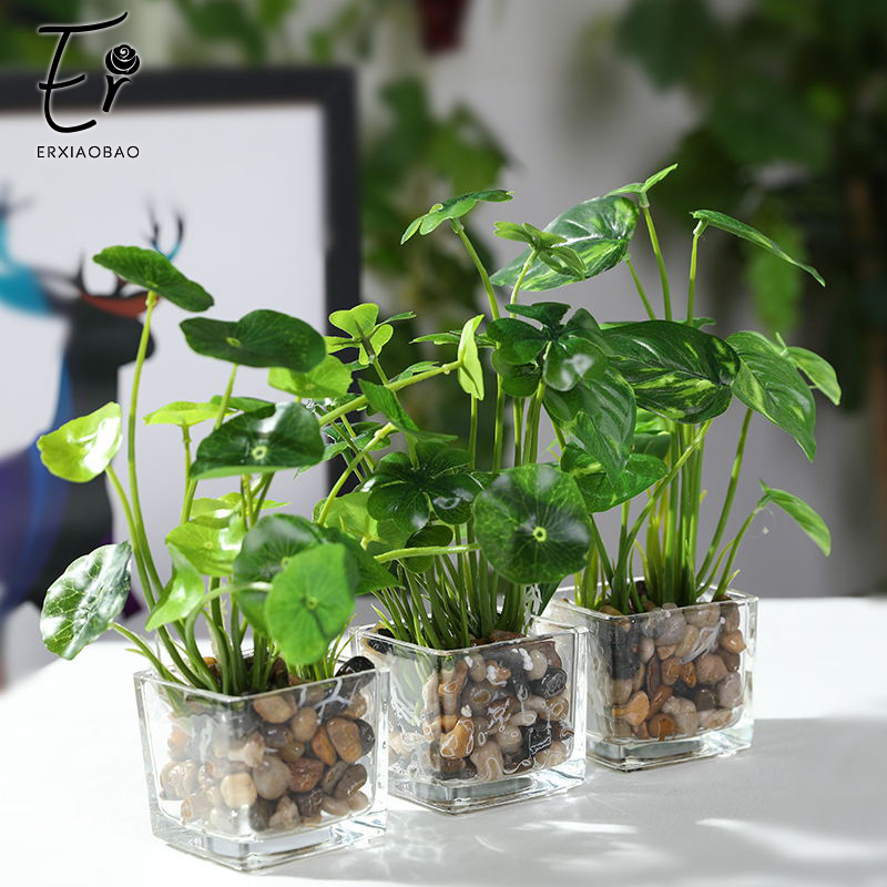 Erxiaobao Artificial Plants With Glass Pot Simulation Bonsai Potted Placed Green Four-leaf Clover Home Table Windows Decoration