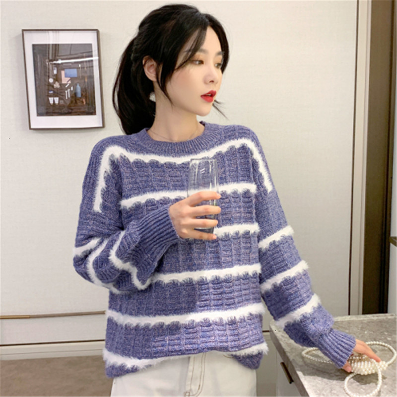 Loose Casual Stripe O-Neck Thick Fashion Warm Knitted Sweater Pullover Autumn Knitwear Sueter Mujer Long   Sleeve Women New 2019