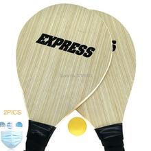 Wood White OAK Plywood Beach Racket Beach Tennis Paddle Set With Beach Tennis Balls недорого