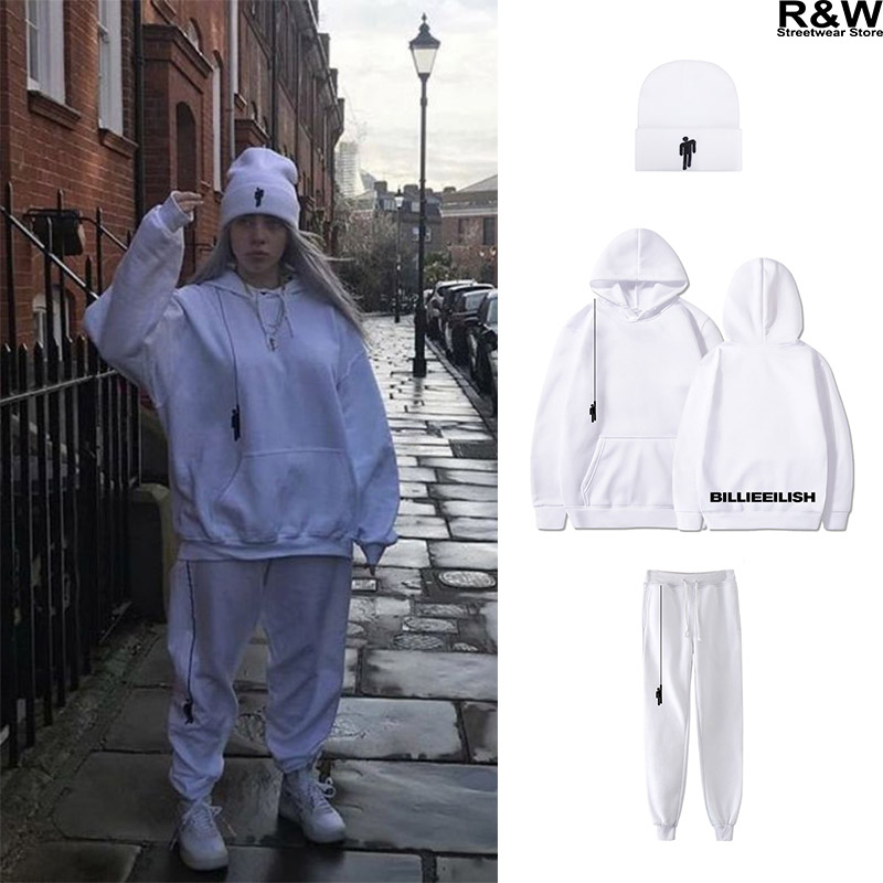 Billie Eilish White Hoodies Women Men Streetwear Girl Clothes Harajuku Shirt Beanies Sweatshirts Top Hat Pants