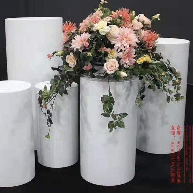 Round 4pcs Risers White Iron Plinth Display Party Pedestal Wedding 1